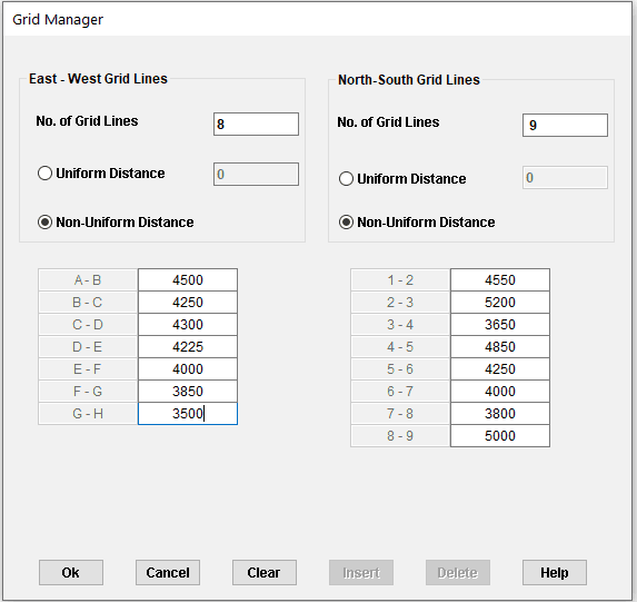 Revit modelling Grid manager dialogue box